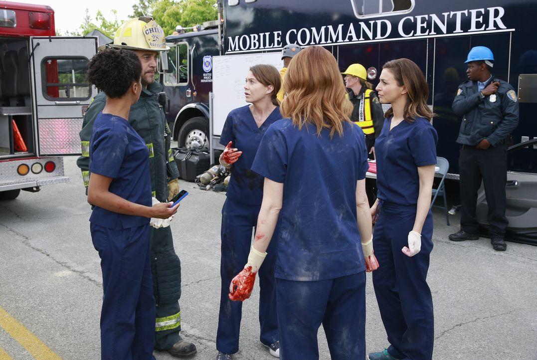 Geben alles, um nach dem Tunneleinsturz so viele Leben wie möglich zu retten: Hal (Robert Neary, 2.v.l.) versuchen Meredith (Ellen Pompeo, M.), Magg... - Bildquelle: ABC Studios