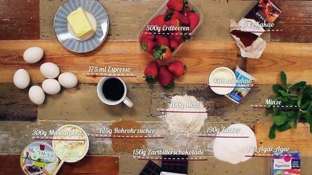 Diese Zutaten braucht ihr für das Erdbeer-Tiramisu
