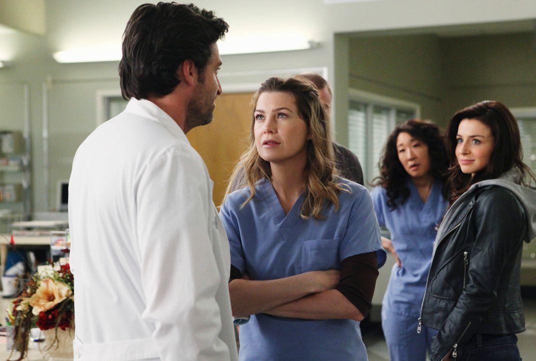 Meredith (Ellen Pompeo, 2.v.l.) und Cristina (Sandra Oh, 2.v.r.) sind überrascht, als plötzlich Dereks (Patrick Dempsey, l.) Schwester Amelia (Cater... - Bildquelle: ABC Studios