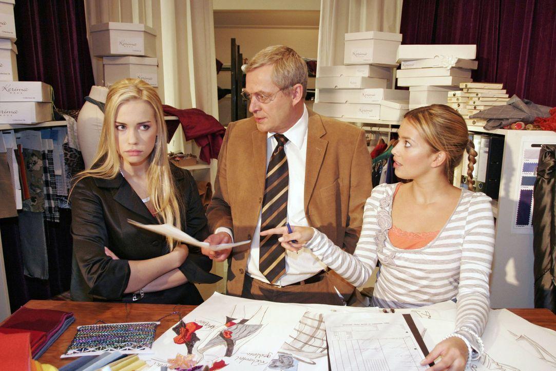 Kim (Lara-Isabelle Rentinck, l.) ist genervt, weil sie sich von ihrem Vater Friedrich (Wilhelm Manske, M.) und Hannah (Laura Osswald, r.) nicht erns... - Bildquelle: Noreen Flynn Sat.1