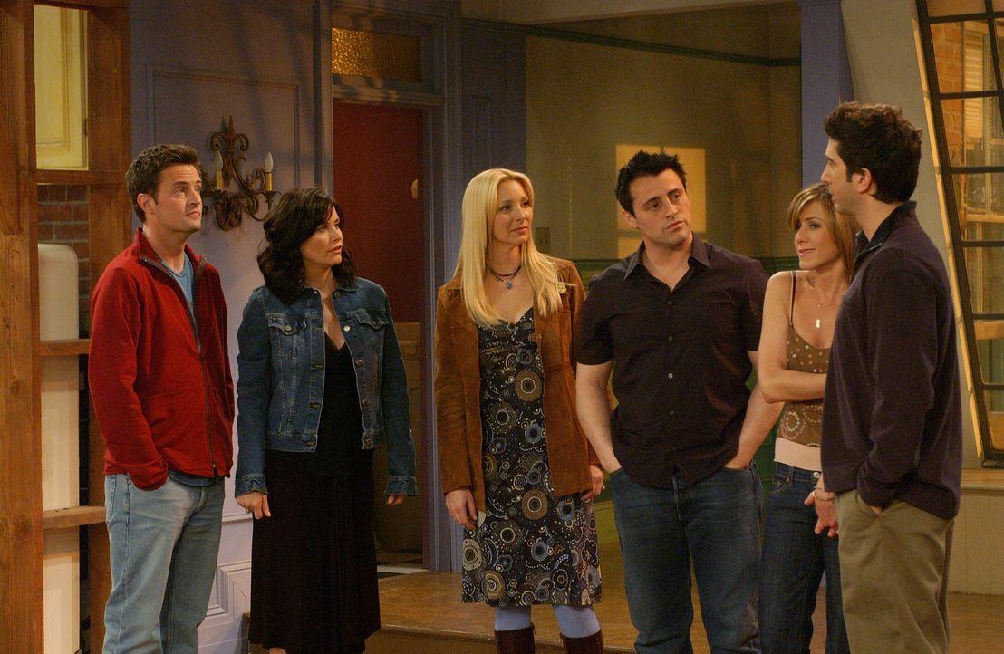 Alles hat eine Ende: Ross (David Schwimmer, r.), Rachel (Jennifer Aniston, 2.v.r.), Monica (Courteney Cox, 2.v.l.), Chandler (Matthew Perry, l.), Jo... - Bildquelle: 2003 Warner Brothers International Television