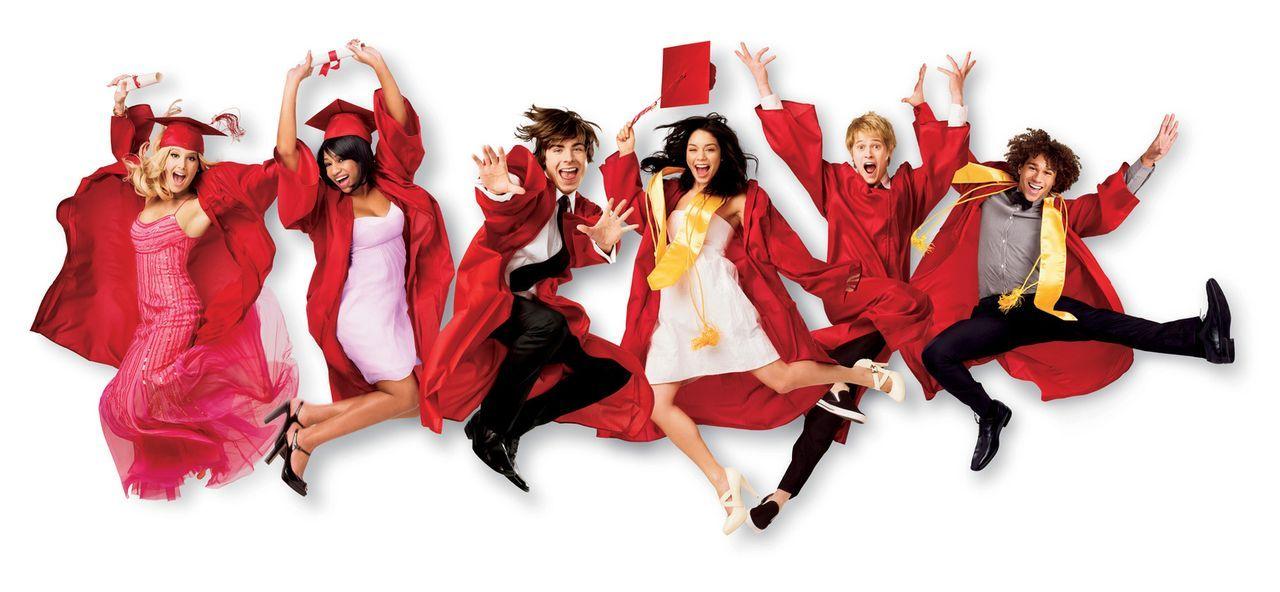 Der Schulabschluß steht bevor! Für die Freunde (v.l.n.r.) Sharpay (Ashley Tisdale), Taylor (Monique Coleman), Troy (Zac Efron), Gabriella (Vanessa A... - Bildquelle: Disney Enterprises, Inc.  All rights reserved.