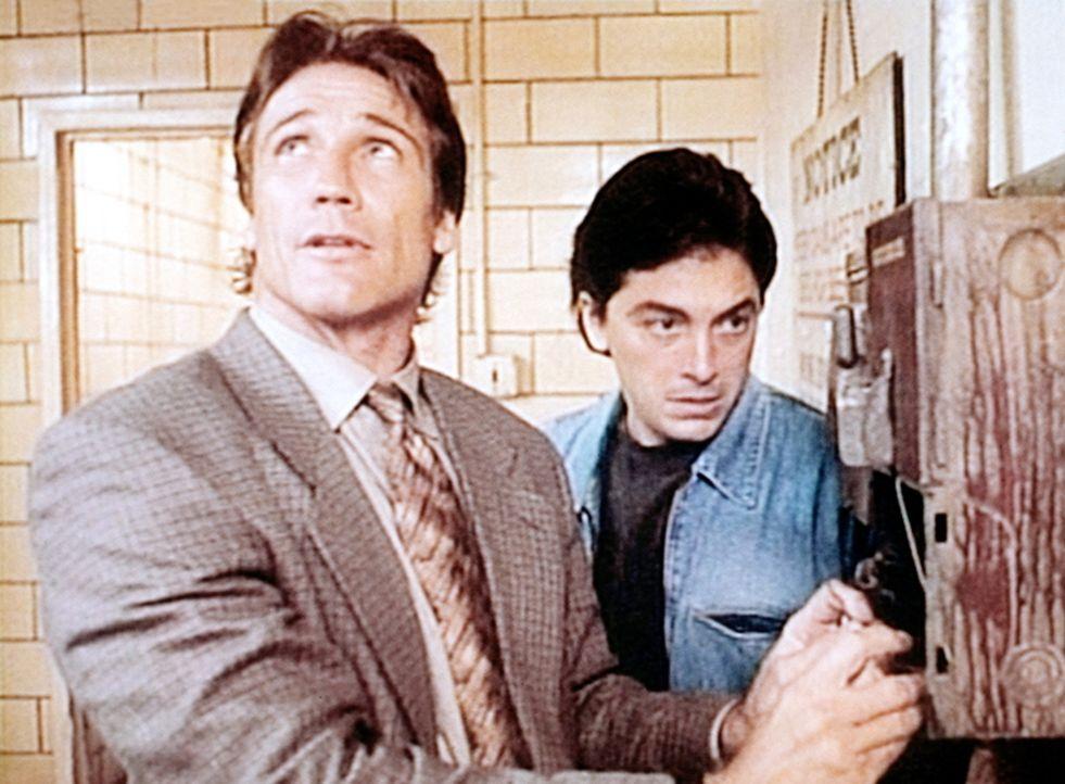 Steve (Barry Van Dyke, l.) und Jack (Scott Baio, r.) sitzen in einem Waschraum in der Falle. - Bildquelle: Viacom