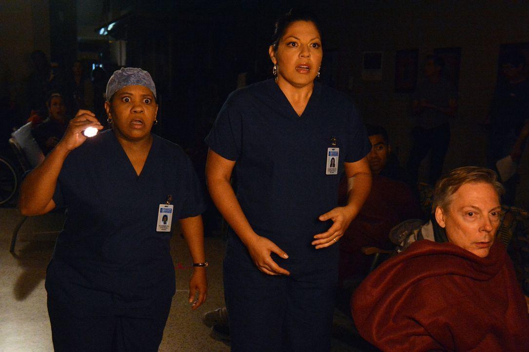 Bailey (Chandra Wilson, l.) und Callie (Sara Ramirez, M.) beobachten mit Schrecken die Explosion des verunglückten Busses. Sie befürchten das Schl... - Bildquelle: ABC Studios