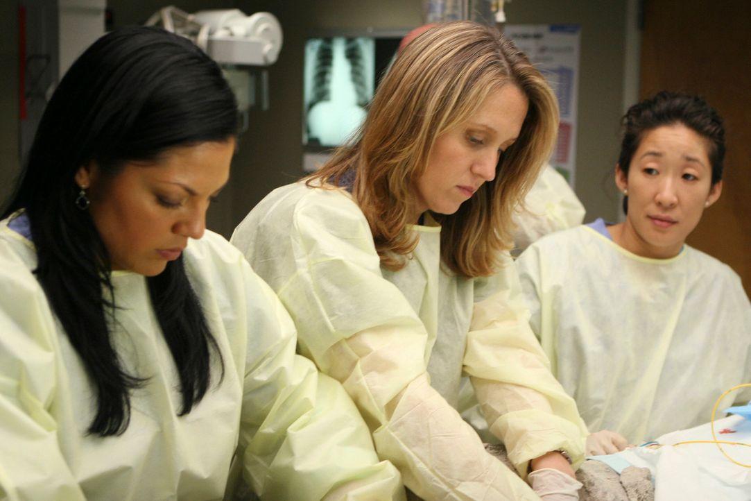 Kämpfen um das Leben eines Teenagers, der in einem Zementblock festsitzt: Callie (Sara Ramirez, l.), Erica (Brooke Smith, M.) und Cristina (Sandra... - Bildquelle: Touchstone Television