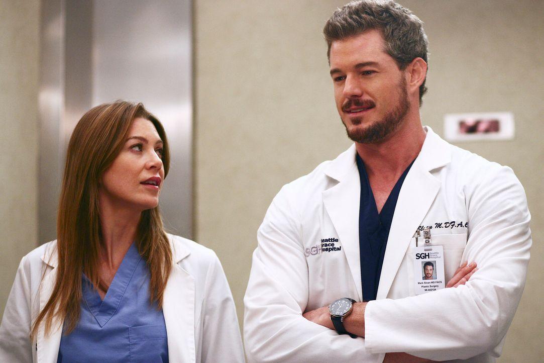 Während Derek und die anderen einen Campingausflug machen, muss Meredith (Ellen Pompeo, l.) Mark (Eric Dane, r.) bei einer ungewöhnlichen Operation... - Bildquelle: Touchstone Television