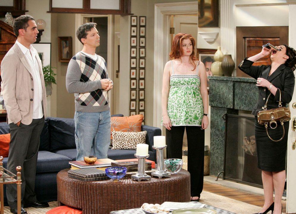 Gemeinsam stehen sie nun Karen (Megan Mullally, r.) bei: Vince (Bobby Cannavale, l.), Jack (Sean Hayes, 2.v.l.) und Grace (Debra Messing, 2.v.r.) ... - Bildquelle: Chris Haston NBC Productions