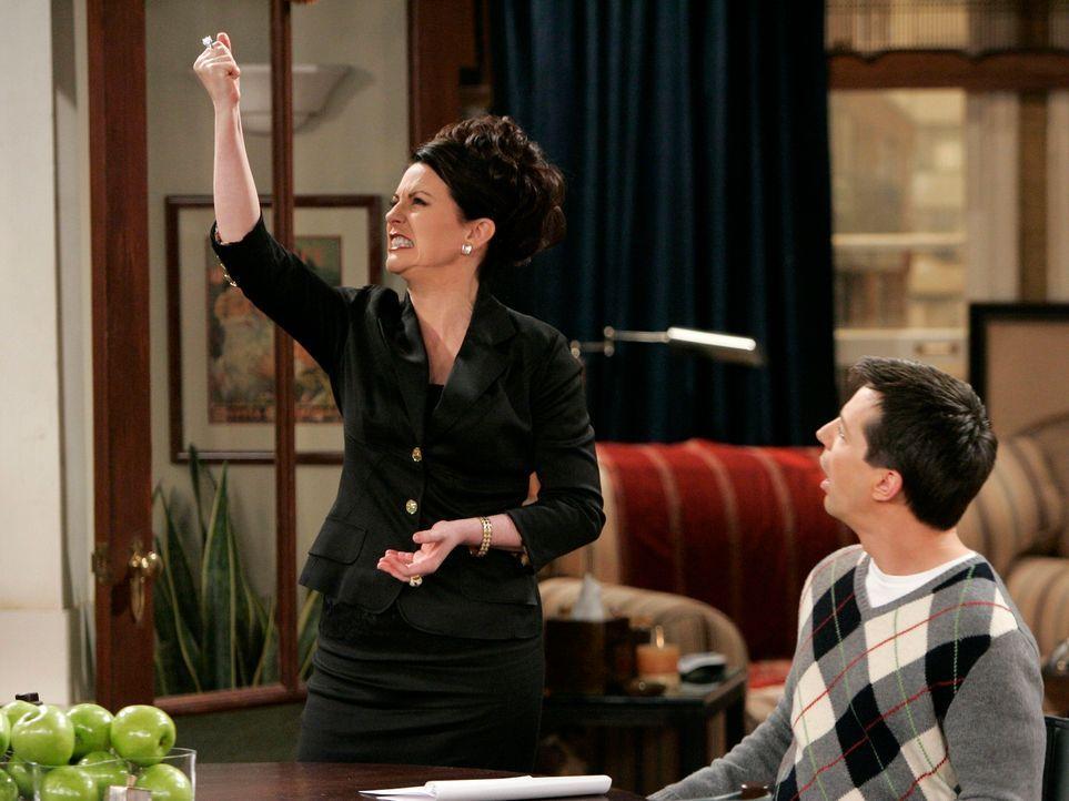 Jack (Sean Hayes, r.) ist für seine Freundin Karen (Megan Mullally, l.) nicht da, als sie ihn braucht: Sie will sich von ihrem Mann Stanley trennen... - Bildquelle: Chris Haston NBC Productions