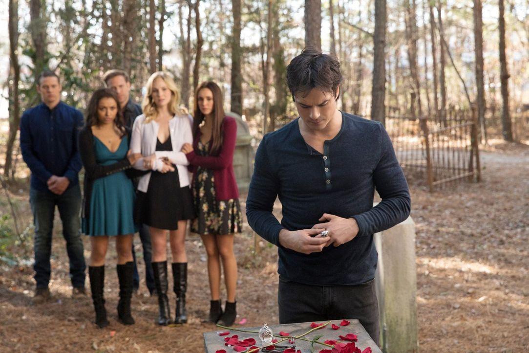 Es ist Zeit Abschied zu nehmen: (v.l.n.r.) Matt (Zach Roerig), Bonnie (Kat Graham), Alaric (Matthew Davis), Caroline (Candice King), Elena (Nina Dob... - Bildquelle: 2016 Warner Brothers