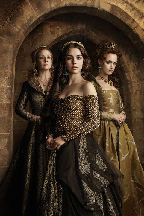 (3. Staffel) - Der Machtkampf zwischen Königin-Mutter Catherine (Megan Follows, l.), der Königin Mary Stuart (Adelaide Kane, M.) und Königin Elizabe... - Bildquelle: 2014 The CW Network, LLC. All rights reserved.