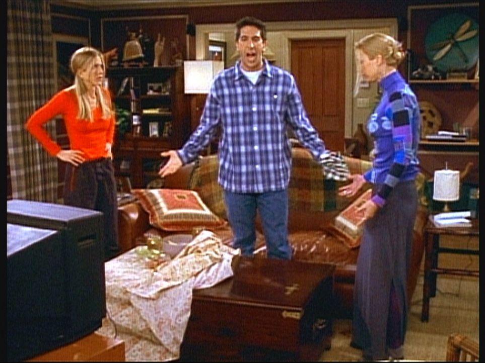Ross (David Schwimmer, M.) ist sauer, weil Phoebe (Lisa Kudrow, r.) Rotwein über seinen neuen Tisch gegossen hat. Rachel (Jennifer Aniston, l.) ver... - Bildquelle: TM+  2000 WARNER BROS.