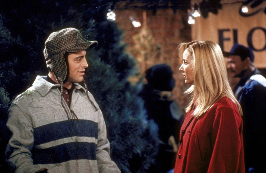 Phoebe (Lisa Kudrow, r.) fragt sich, warum Joey (Matt LeBlanc, l.) mit Tannengrün übersät ist. - Bildquelle: TM+  2000 WARNER BROS.