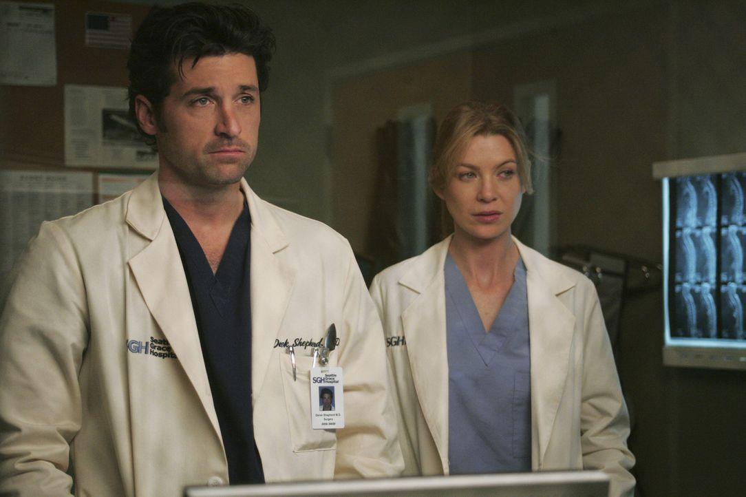 Da es Meredith (Ellen Pompeo, r.) immer noch schwer fällt, den charmanten Avancen von Derek (Patrick Dempsey, l.) zu widerstehen, spricht sie ein er... - Bildquelle: Touchstone Television