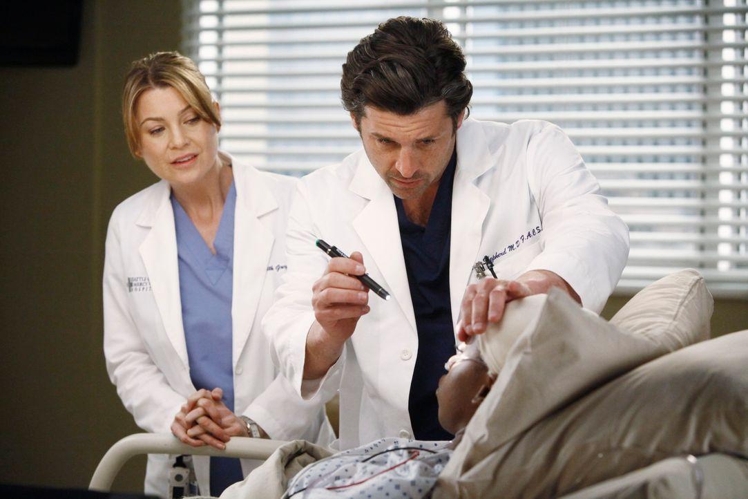 Während Derek (Patrick Dempsey, M.) die zögerliche Meredith (Ellen Pompeo, l.) ermutigt, wieder mit ihm in der Neurologie zu arbeiten, muss sich Ale... - Bildquelle: ABC Studios
