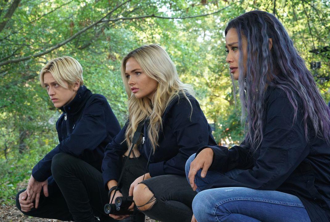 (v.l.n.r.) Andy Strucker (Percy Hynes White); Lauren Strucker (Natalie Alyn Lind); Blink (Jamie Chung) - Bildquelle: 2019 Twentieth Century Fox Film Corporation.  All rights reserved.