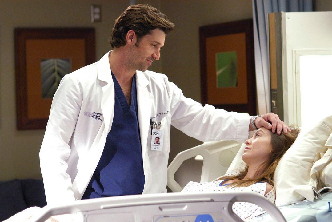 Während Derek (Patrick Dempsey, l.) sich um Meredith (Ellen Pompeo, r.) kümmert, die von dem Morphin richtig benebelt ist, kommt Finn hinzu. Zwische... - Bildquelle: Touchstone Television