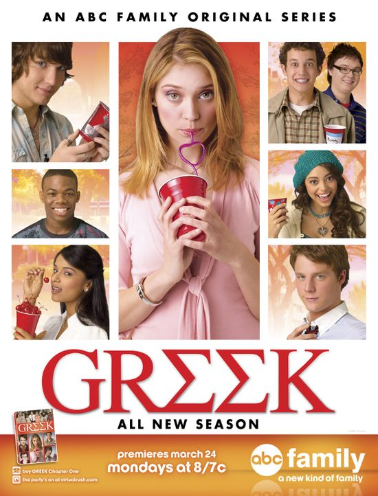 (2. Staffel) - Greek: Rebecca (Dilshad Vadsaria, unten l.), Evan (Jake McDorman, unten r.), Casey (Spencer Grammer, M.), Rusty (Jacob Zachar, oben 2... - Bildquelle: ABC Family