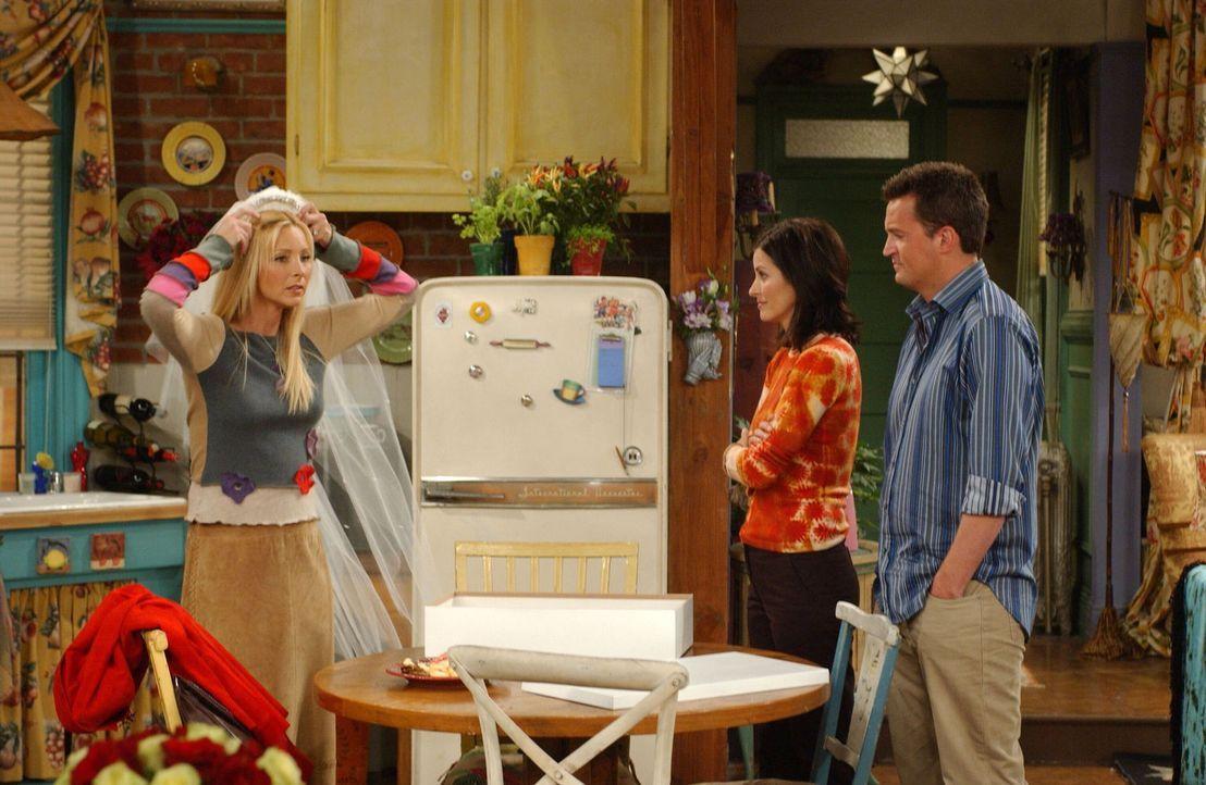 Chandler (Matthew Perry, r.) und Monica (Courteney Cox, M.) können nicht verstehen, was Phoebe (Lisa Kudrow, l.) zu der Spende bewegt hat ... - Bildquelle: 2003 Warner Brothers International Television