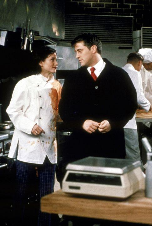 Monica (Courteney Cox, l.) stellt Joey (Matt LeBlanc, r.) in ihrem Restaurant ein. Doch ihre wahre Absicht ist eine andere: Sie will ihn wieder feue... - Bildquelle: TM+  2000 WARNER BROS.
