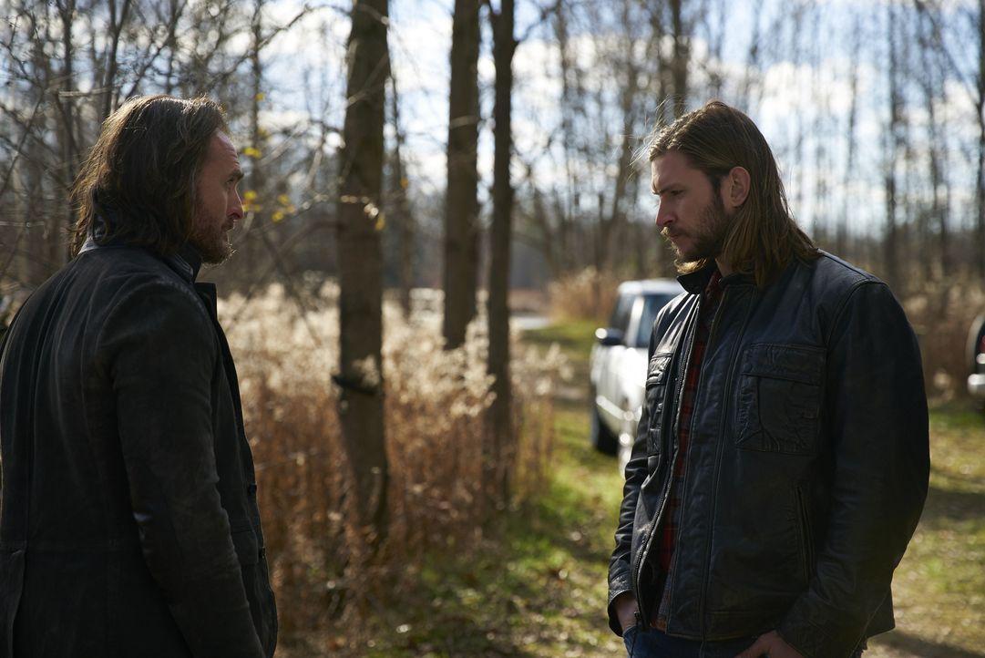 Jeremy (Greg Bryk, l.) will mit Romans Tod endlich wieder Frieden einkehren lassen. Unterdessen haben Clay (Greyston Holt, r.), Elena und auch Nick... - Bildquelle: 2016 She-Wolf Season 3 Productions Inc.