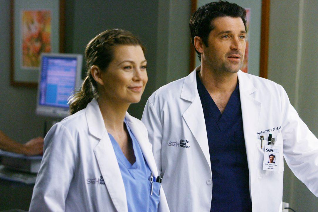 Heiraten symbolisch im Umkleideraum: Meredith (Ellen Pompeo, l.) und Derek (Patrick Dempsey, r.) ... - Bildquelle: Touchstone Television