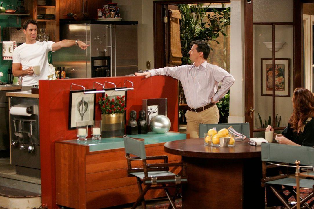 Jack (Sean Hayes, M.) braucht einen würdigen Ersatz für einen Talkgast in seiner Show und bittet Will (Eric McCormack, l.) und Grace (Debra Messing,... - Bildquelle: NBC Productions