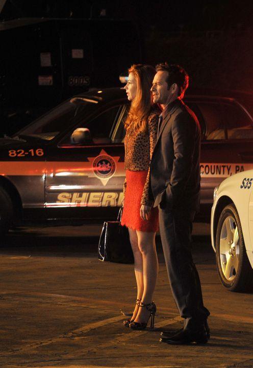 Ein romantisches Date von Charlie Stafford (Luke Perry, r.) und Megan Hunt (Dana Delany, l.) wird durch einen Flugzeugabsturz abrupt beendet ... - Bildquelle: 2013 American Broadcasting Companies, Inc. All rights reserved.