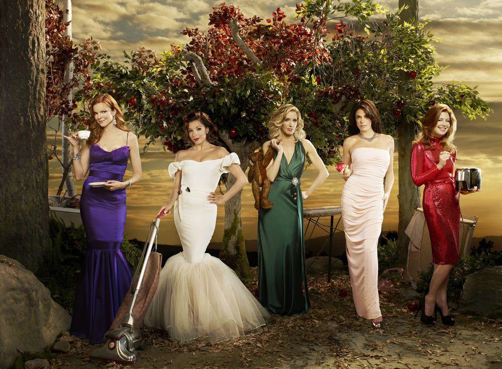 (6. Staffel) - Spielen perfekte Hausfrauen, doch hinter der makellosen Fassade ereignen sich große Dramen: Lynette (Felicity Huffman, M.), Bree (Mar... - Bildquelle: ABC Studios