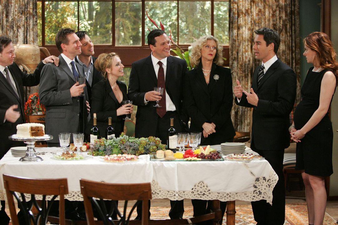 Zu der Beerdigung von Wills (Eric McCormack, 2.v.r.) Vater versammeln sich alle Freunde (Jerry Levine, l., Tim Bagley, 2.v.l., Sean Hayes, 3.v.l., L... - Bildquelle: Chris Haston NBC Productions