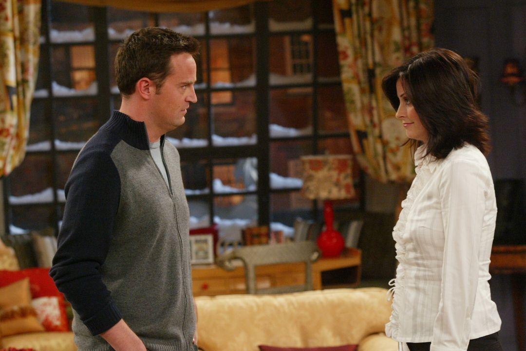 Chandler (Matthew Perry, l.) kann seine Beschuldigungen bezüglich einer Affäre mit Monica (Courteney Cox, r.) klären ... - Bildquelle: 2003 Warner Brothers International Television