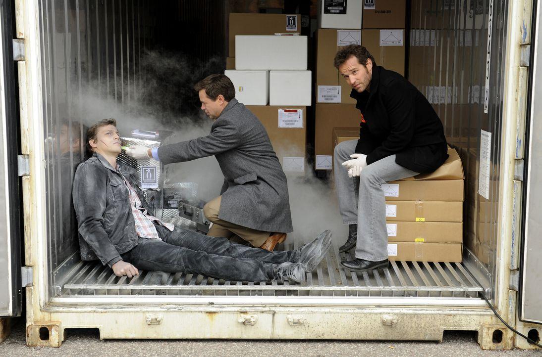 Während der Doc (Guillaume de Tonquedec, M.) die Leiche von Raphaël Mirmont (Baptiste Mayeux , l.) untersucht, fühlt sich Matthieu (Guillaume Cramoi... - Bildquelle: 2008 - Beaubourg Audiovisuel/BeFilms/RTBF (Télévision Belge)
