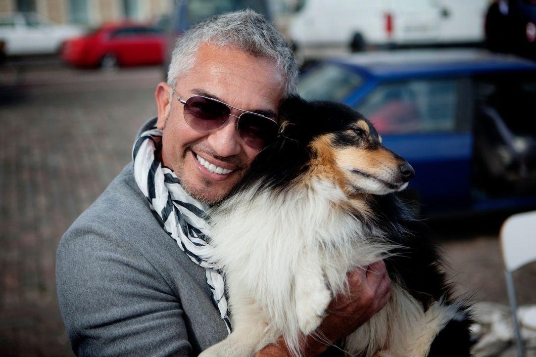 Seine Liebe zu Hunden ist riesengroß: Cesar Millan umarmt sogar auf offener Straße in Helsinki einen Hund ... - Bildquelle: Anders Birch Anders Birch