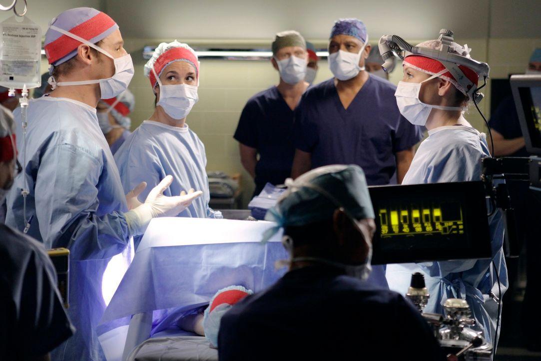 Bereiten sich auf die große Operation, der Trennung von Siamesischen Zwillingen vor: Alex (Justin Chambers, l.), Owen (Kevin McKidd, hinten), Webber... - Bildquelle: ABC Studios