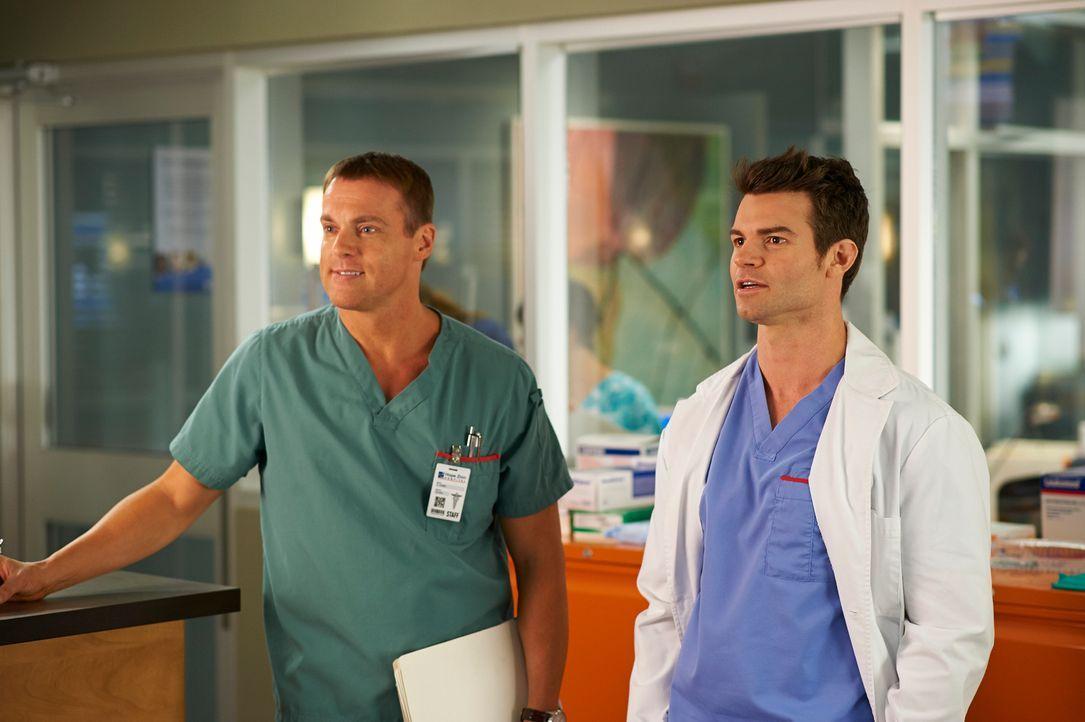 Einige Patienten sorgen dafür, dass Charlie (Michael Shanks, l.) und Joel (Daniel Gillies, r.) aneinander geraten ... - Bildquelle: 2012  Hope Zee One Inc.