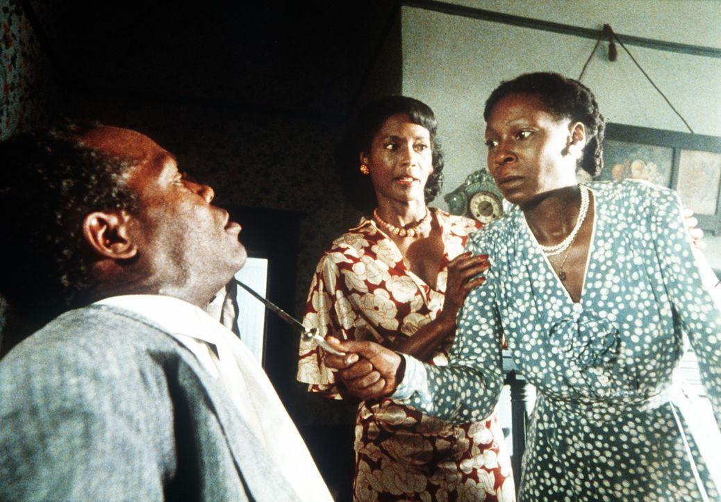 Nur schwer kann Shug (Margaret Avery, M.) Celie (Whoopi Goldberg, r.) davor zurückhalten, sich mit Gewalt an Albert (Danny Glover, l.) zu rächen ... - Bildquelle: Warner Bros.