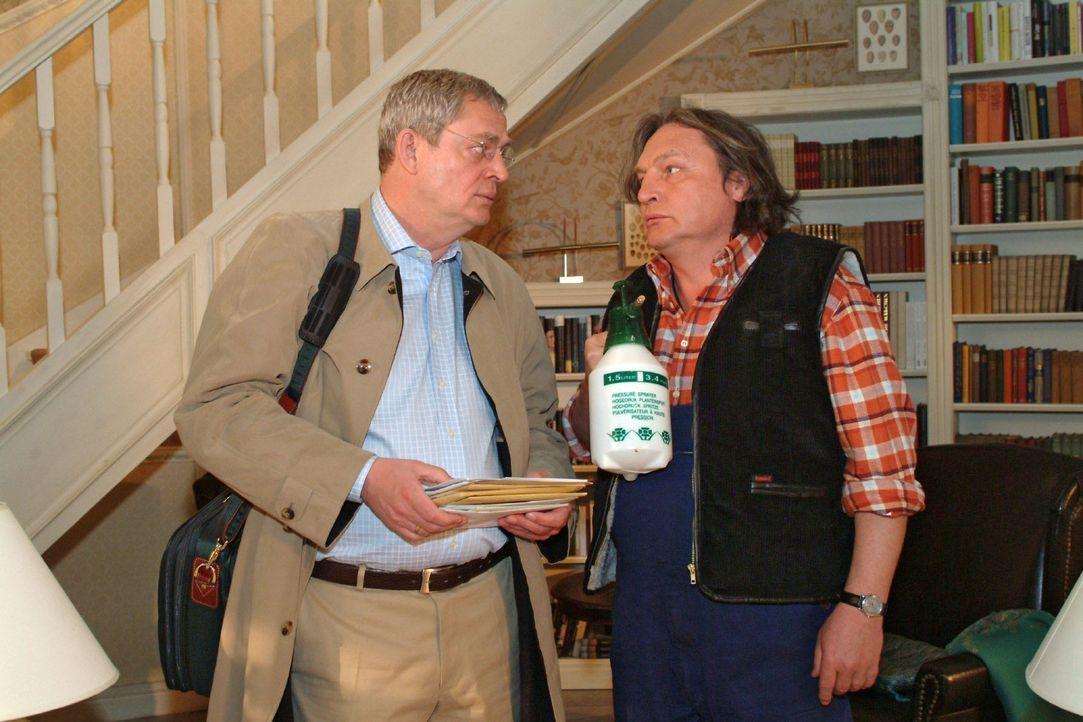 Bernd (Volker Herold, r.) ist überrascht, dass Friedrich (Wilhelm Manske, l.) vorzeitig und allein aus dem Urlaub zurückgekommen ist. - Bildquelle: Sat.1