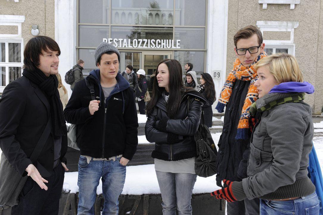 Halten zusammen: (v.l.n.r.) Ben (Christopher Kohn), Timo (Rocco Stark), Luzi (Selina Müller), Hotte (Dennis Schigiol) und Emma (Kasia Borek) ... - Bildquelle: SAT.1