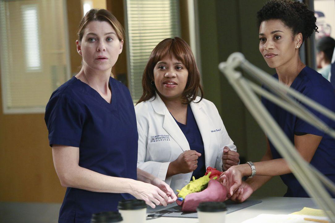 Während April versucht, optimistisch zu bleiben, als Arizona damit beginnt, ihr Baby zu untersuchen, behandeln Meredith (Ellen Pompeo, l.), Miranda... - Bildquelle: ABC Studios