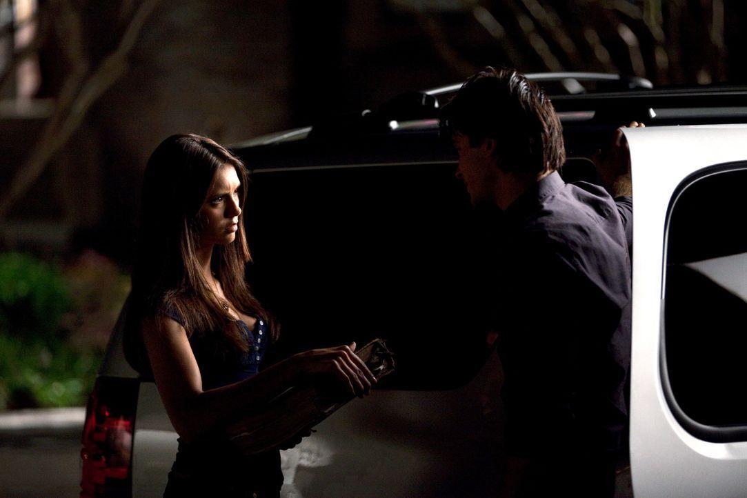 Nach der scheinbar erfolglosen Suche in Isobels Büro, überrascht Damon (Ian Somerhalder, r.) Elena (Nina Dobrev, l.) mit einem Buch mit dem Namen... - Bildquelle: Warner Brothers