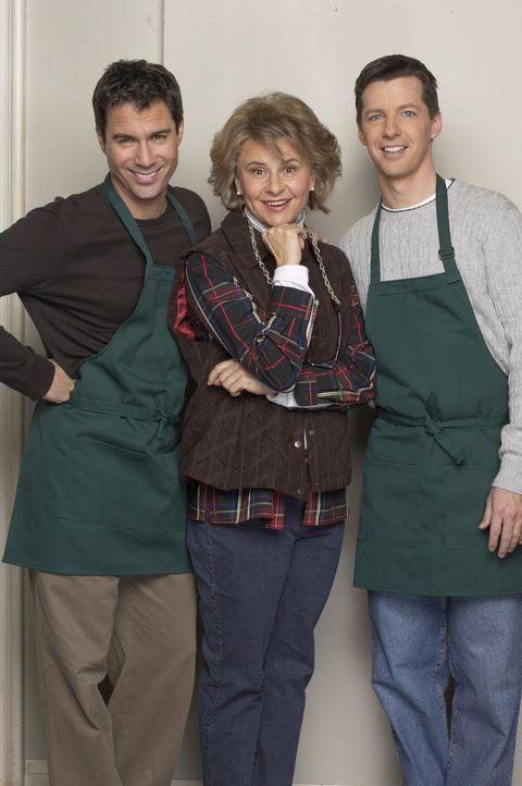 Jack (Sean Hayes, r.) und Will (Eric McCormack, l.) nehmen an einem Kochkurs bei Ann (Tracey Ullman, M.) teil, der jedoch anderes endet als geplant... - Bildquelle: NBC Productions