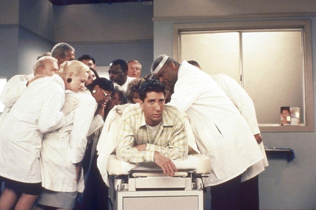 Ross (David Schwimmer, M. unten) stellt die Ärzte vor ein Rätsel. Was ist das bloß für ein Ding auf seinem Allerwertesten? - Bildquelle: TM+  2000 WARNER BROS.