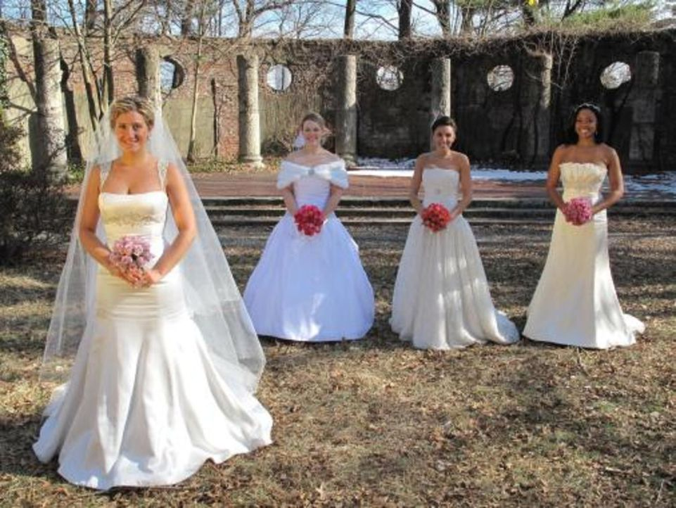 Vier Bräute treten an, im Wettkampf um das schönste Hochzeitsfest: Anastasia (l.), Amber (r.), Kristin (2.v.r.) und Jena (2.v.l.) - Bildquelle: 2009 Discovery Communications, LLC