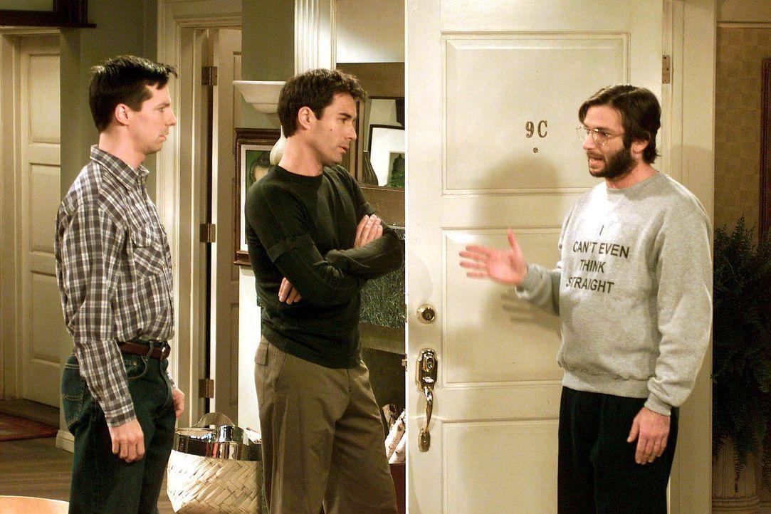 Tatkräftig stehen Will (Eric McCormack, M.) und Jack (Sean Hayes, l.) Karens Cousin Barry (Dan Futterman, r.) bei seinem Coming-Out bei ... - Bildquelle: NBC Productions