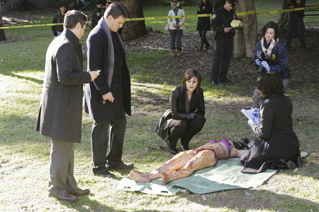 Kevin Ryan (Seamus Dever, l.), Richard Castle (Nathan Fillion, 2.v.l.), Kate Beckett (Stana Katic, M.) und Lanie Parish (Tamala Jones, r.) untersuch... - Bildquelle: ABC Studios