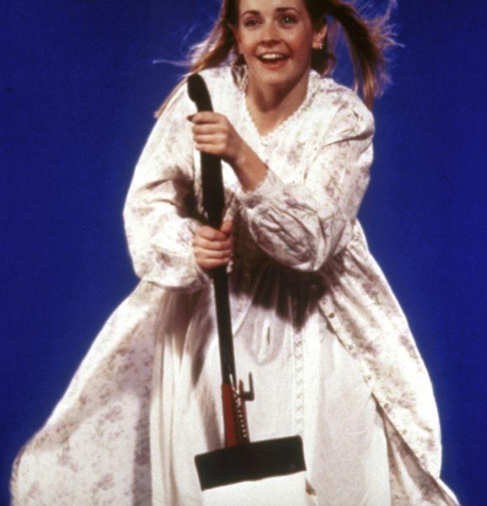 Sabrina (Melissa Joan Hart) darf als Belohnung einmal mit dem Besen über die Stadt fliegen. - Bildquelle: Paramount Pictures
