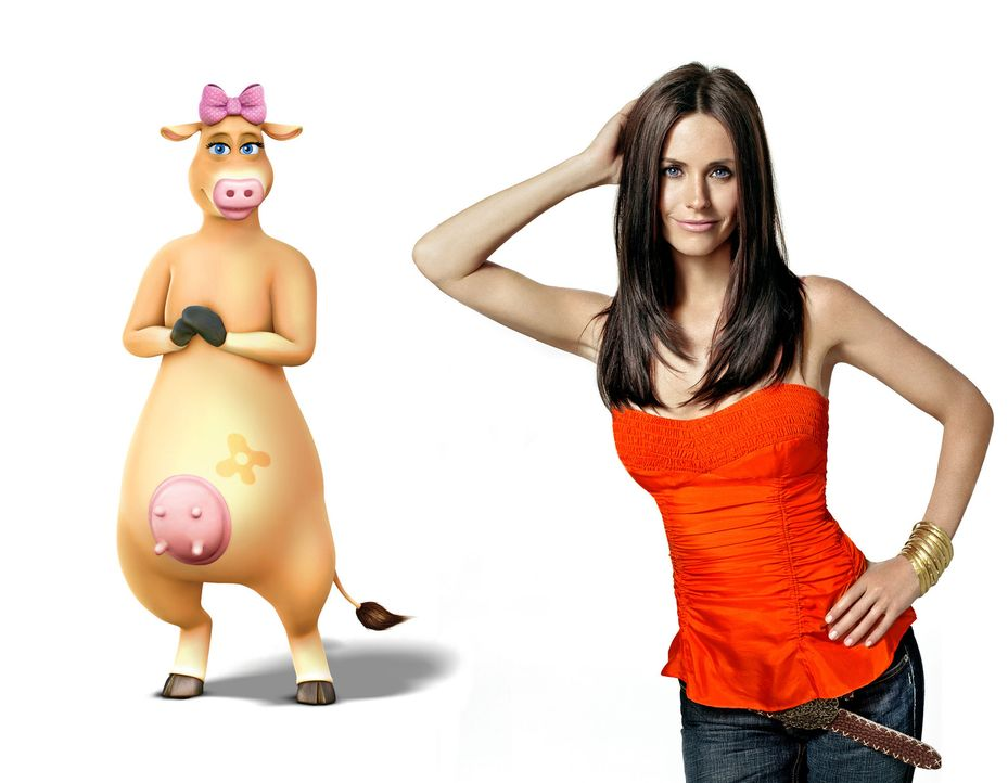 """Courteney Cox (r.) im Tonstudio bei den Sprachaufnahmen für ihre Rolle als """"Daisy die Kuh """". - Bildquelle: Paramount Pictures"""
