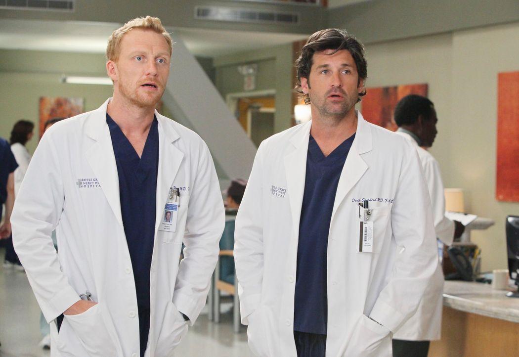 April ist von ihrem neuen Job als Stationsärztin vollkommen überfordert, während Derek (Patrick Dempsey, r.) und Owen (Kevin McKidd, l.) Probleme mi... - Bildquelle: ABC Studios