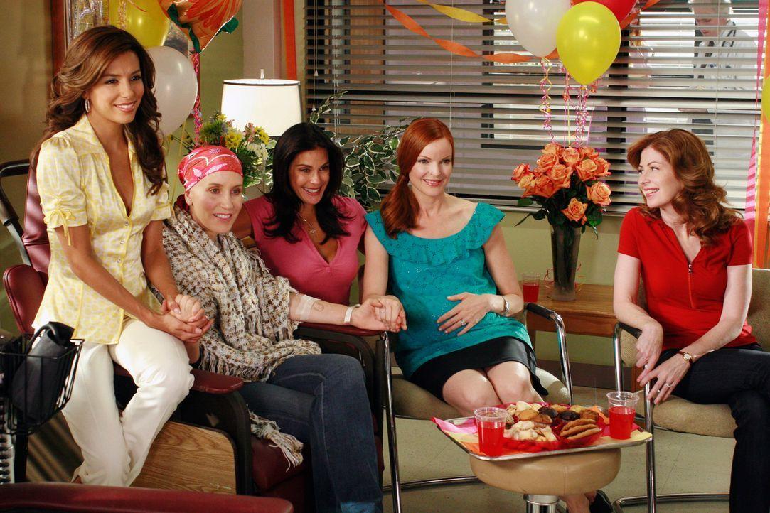 Lynette (Felicity Huffman, 2.v.l.) freut sich darüber, dass Gabrielle (Eva Longoria, l.), Susan (Teri Hatcher, M), Bree (Marcia Cross, 2.v.r.) und K... - Bildquelle: ABC Studios