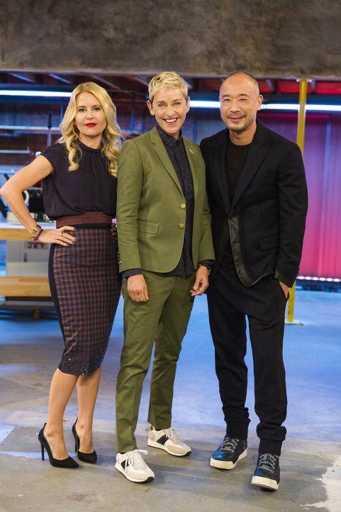 (2.Staffel) - Haben immer ein kritisches Augen auf das, was die Designer kreieren: Christiane Lemieux (l.), Ellen DeGeneres (M.) und Innenarchitekt... - Bildquelle: Warner Bros.