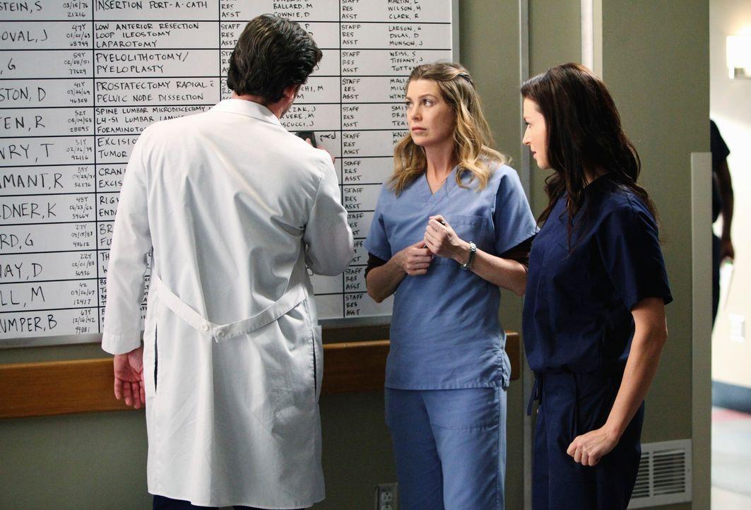 Während Derek (Patrick Dempsey, l.) versucht Meredith (Ellen Pompeo, M.) zu erklären, warum er mit seiner Schwester Amelia (Caterina Scorsone, r.) n... - Bildquelle: ABC Studios